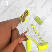 Neon yeşil PVC jöle sandalet burnu açık Lace-up gladyatör yüksek topuklu ayakkabılar yaz ayakkabı platformu topuk şeffaf sandalet büyük boyutu 43