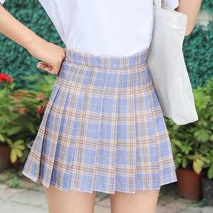 Женская летняя клетчатая юбка, модные плиссированные юбки с высокой талией в стиле Харадзюку, Милая Студенческая мини-юбка для танцев для девушек