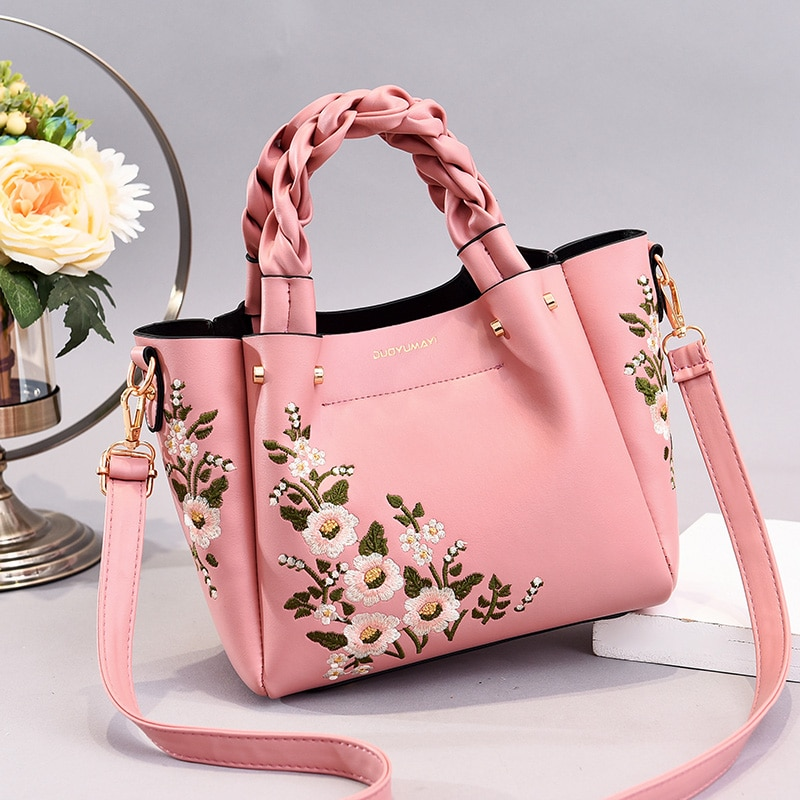 Weave handle Women Floral PU Leather Small Hand bags Casual Brand Fashion Designer Ladies Bag Shoulder White Female Handbags