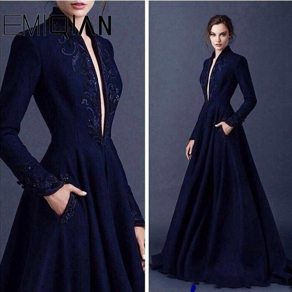 Темно-синее мусульманское вечернее платье А-силуэта с длинным рукавом, украшенное бусинами, длинное вечернее платье с глубоким треугольным вырезом