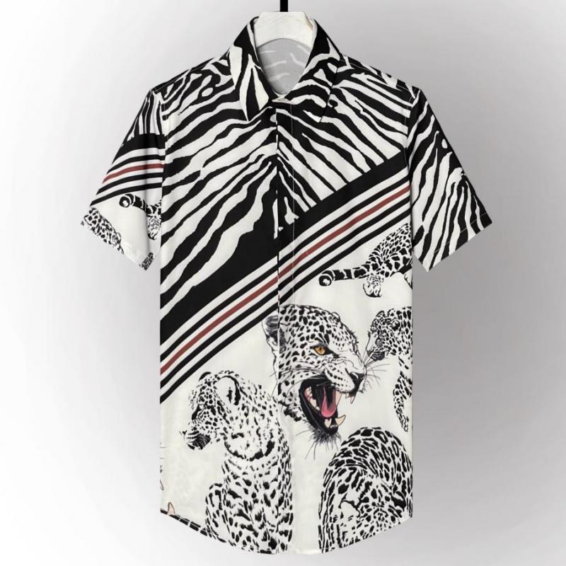 Minlgu صيف كم قصير رجال قمصان فاخرة رقطة ليوبارد مطبوعة رجالي فستان قمصان موضة الرجال قمصان عادية سليم صالح 4XL
