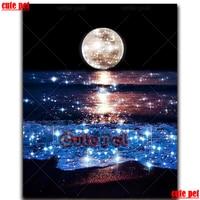5d diy Diamond Painting Shining moon sea waves full drill Diamond embroidery crystal sale diamond mosaic landscape decoration