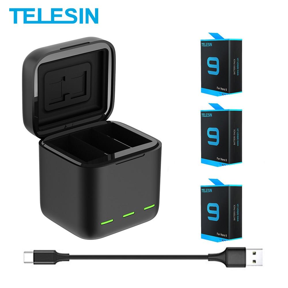 TELESIN Battery 1750 mAh for GoPro Hero 9 3 Ways LED Light Battery Charger TF Card Battery Storage For GoPro Hero 9 Black