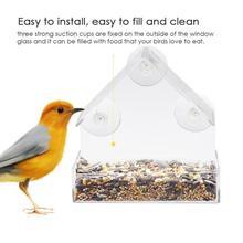 Acrílico claro casa comedero de ventana para pájaros pajarera con succión al aire libre