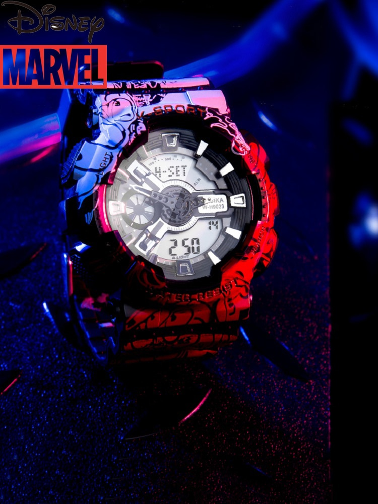 2021 New Electronic Watch Spider-Man Watch Male Children Trend Middle and High School Students Marvel Personality