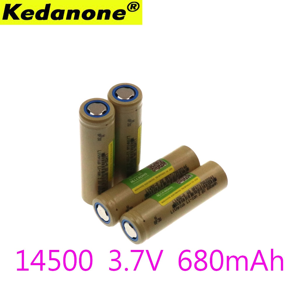Płasko zakończony Kedanone 14500 bateria US14500 14500 680 mAh 3.7 v akumulator bateria litowo-jonowa led lampe de poche Batterie