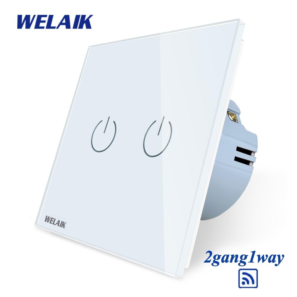 Welaik interruptor de cristal del panel del vidrio interruptor de pared blanco interruptor UE Interruptor táctil pantalla pared interruptor 2gang1way AC110 ~ 250 V a1921W/b