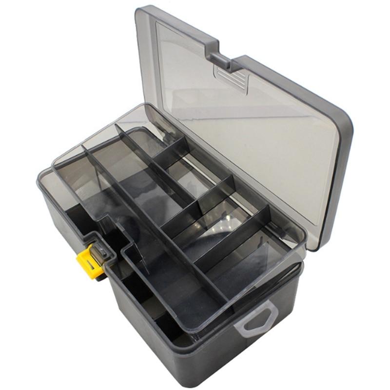 Caixa de equipamento de pesca portátil para wobblers baubles grandes caixas armazenamento organizador dupla camada recipiente acessórios