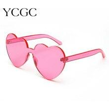 Love Heart Shaped Sunglasses Women 2020 Rimless Frame Lens Candy Color Sunglasses Retro Round Red Pi