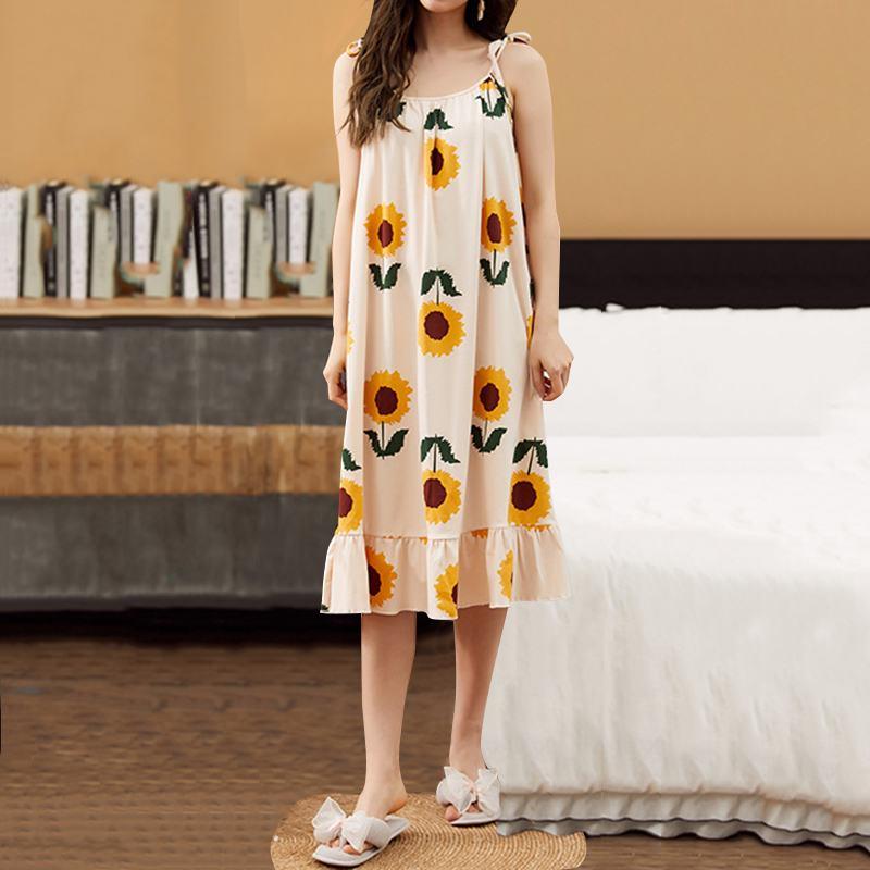 Summer Nightgowns For Womens Dress Nightdress Sexy Spaghetti Straps Floral Print Midi Sundresss Casual Ruffles Sleepwear 3XL