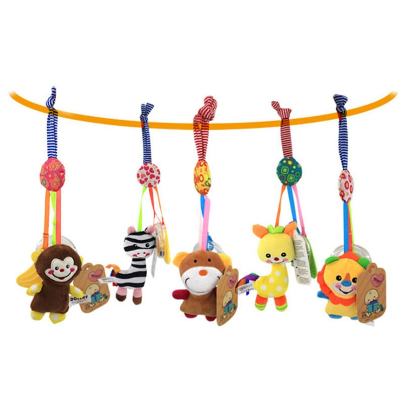 New Baby Kids Rattle Toys Tinkle Hand Bell Multifunctional Plush Stroller Hanging Animal Rattles Kawaii Baby Infant Toy Gifts