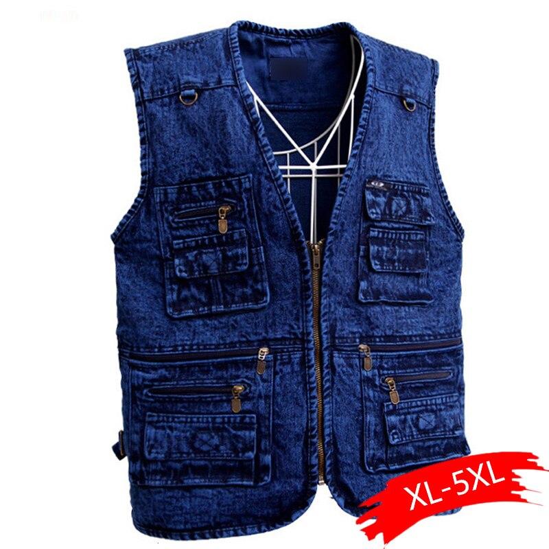 الرجال سترة ملابس خارجية الدنيم صدرية أزرق عميق اللون حجم كبير جاكيت بلا إكمام متعددة جيب حجم XL إلى 5XL كبير
