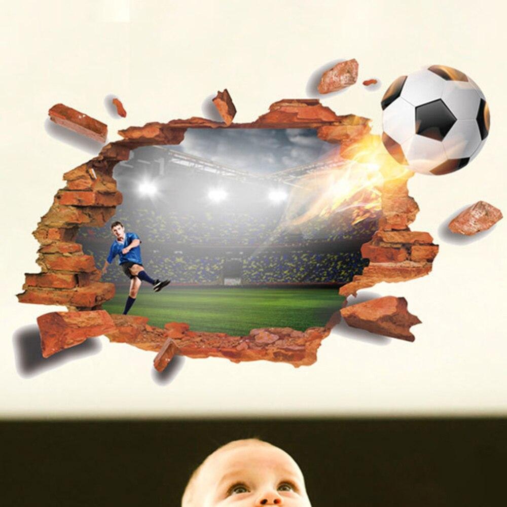 Futebol 3d adesivos de parede rachado efeito parede mural decalques decoração da arte para o escritório quarto sala estar tv fundo