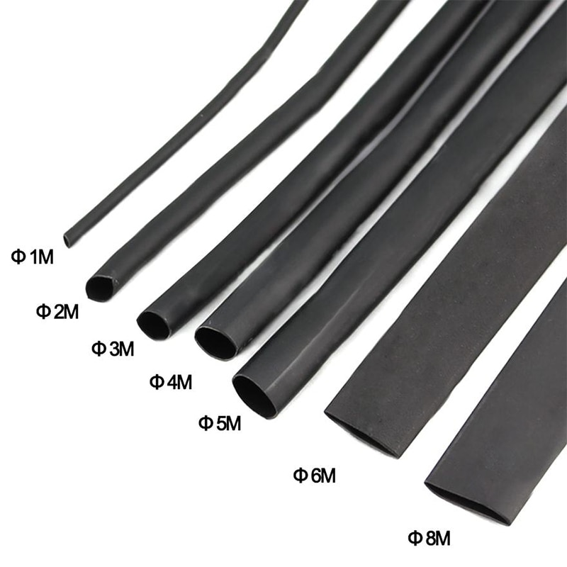8m/set heat shrink tubing kit lined with double wall diameter 1/2/3/4/5/6/7/8mm insulation wear resistant shrinkage 2:1