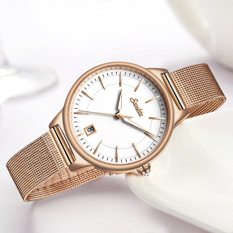 2021 SUNKTA Women Fashion Gold Quartz Watches Lady Casual Waterproof Simple Wristwatch Gift for Girls Wife Saat Relogio Feminino enlarge