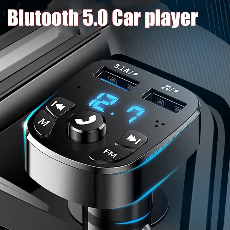 Автомобильный аудиоплеер Bluetooth 5,0 с двумя USB-портами для U-диска и телефона зарядное устройство адаптер Автомобильная сигарета FM Bluetooth переда...