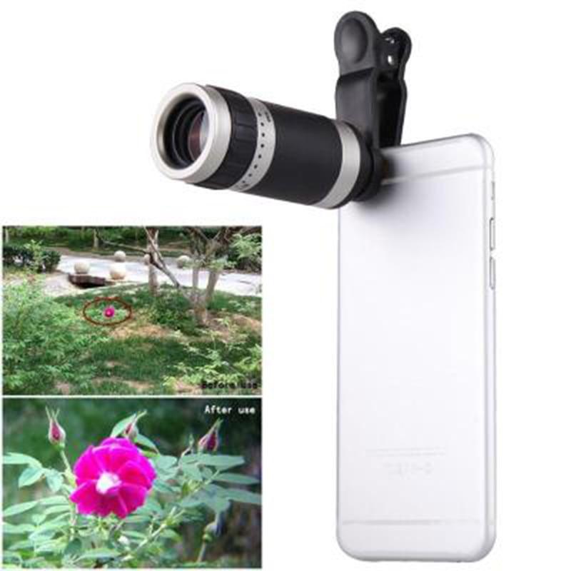 Universal 8x lente de teléfono móvil teleobjetivo telescopio 8 veces lente de clip de cristal de aumento 8 para iPhone 7 plus lente de teléfono móvil