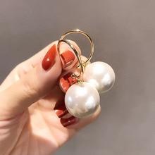 1 paire à la mode Style élégant grand rond blanc perle cerceau goutte boucles doreilles grande boule perle pendentif balancent boucles doreilles pour les femmes cadeau