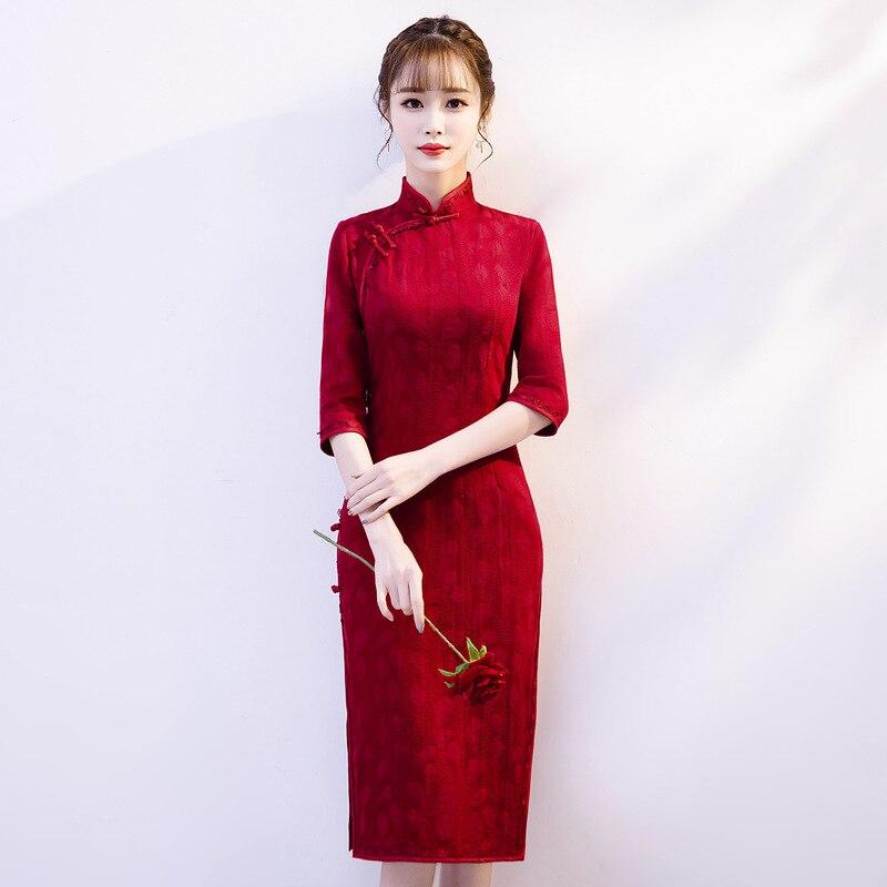 Sexy Tight Short Qipao Chinese Traditional Women Cheongsam Vintage Mandarin Collar Dress Novelty Lace Trim Big Size 3XL Vestidos