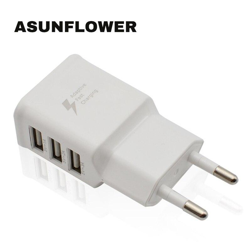 Qc 3,0 carga rápida 3 puertos Multi USB cargador de pared de viaje adaptador de corriente portátil para teléfono móvil tableta Universal EU / US Plug