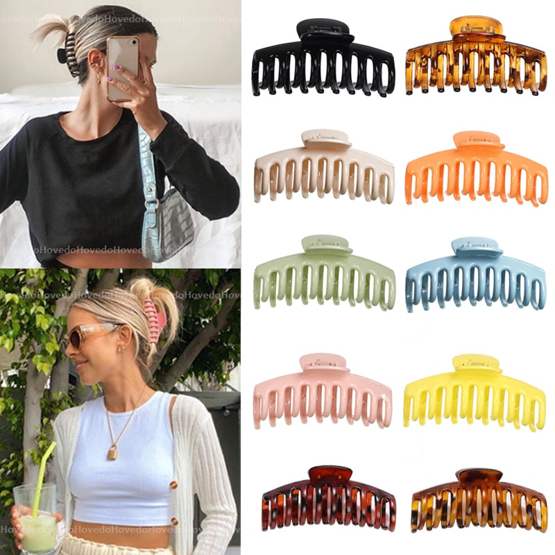 Hot Sale Solid Color Claw Clip Large Barrette Crab Hair Claws Bath Clip Ponytail Clip For Women Girls Hair Accessories Gift