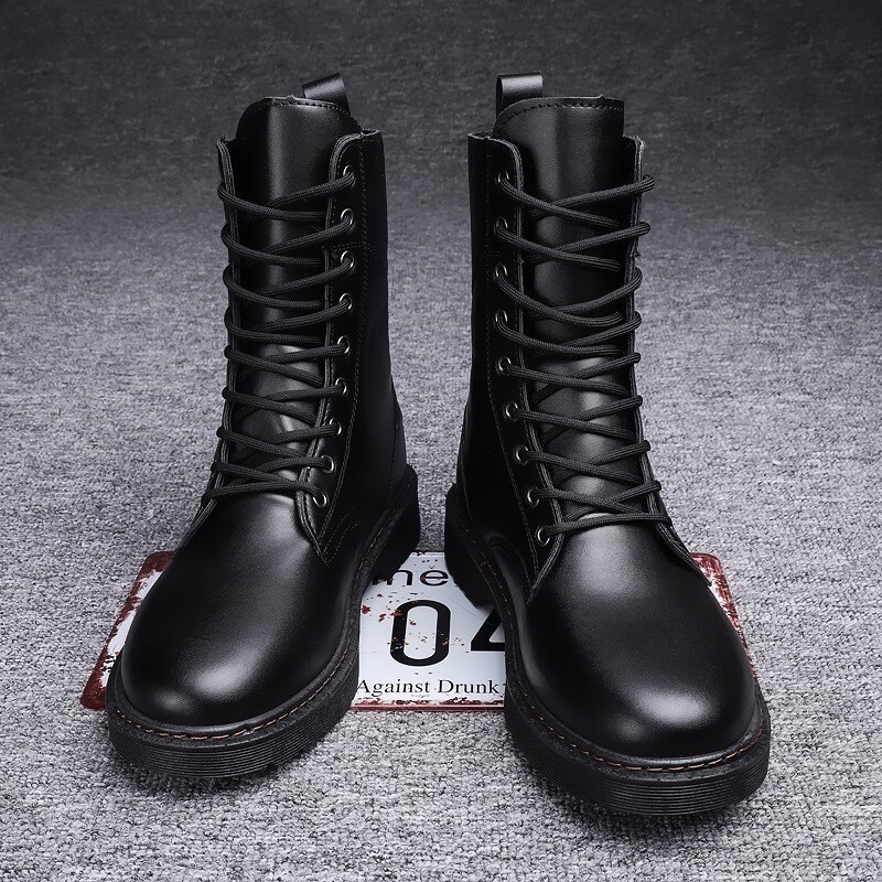 Martin Boots Unisex Men Combat Boots Soft Leather Mid-High Boots Couple Leather Boots Platform Men and Woman Non-Slip Boots vivodsicco new genuine patent leather men mid calf boot punk military combat men s leather desert biker motorcycle rock boots