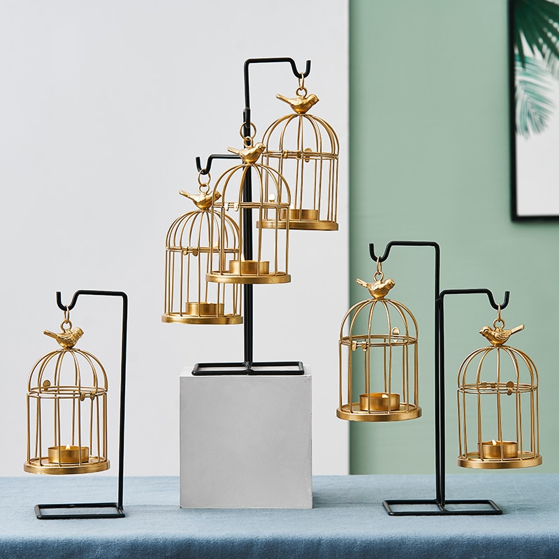 Castiçal de ferro decorativo de estilo europeu, castiçal de ferro estilo europeu, decoração criativa para mesas de casamentos, dourado, votivo, lanterna de metal