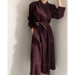 2020 Autumn Stand Collar Vintage Cardigan Dresses Women Single Button Loose A -line Dress Female Long Sleeve Belted Pocket Dress