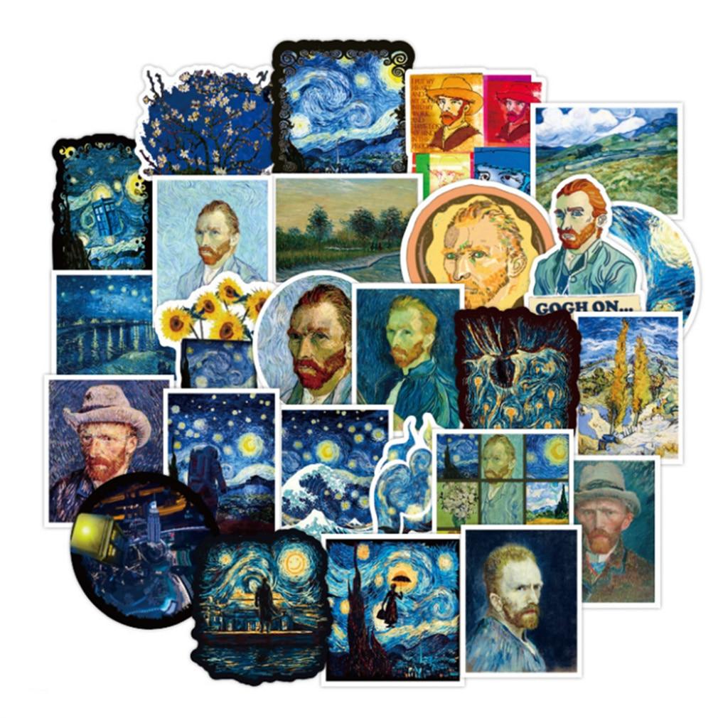 10/30/50PCS Cartoon Sunflower Van Gogh Oil Painting Diary Waterproof Graffiti Suitcase Guitar Toy Decoration Sticker Wholesale