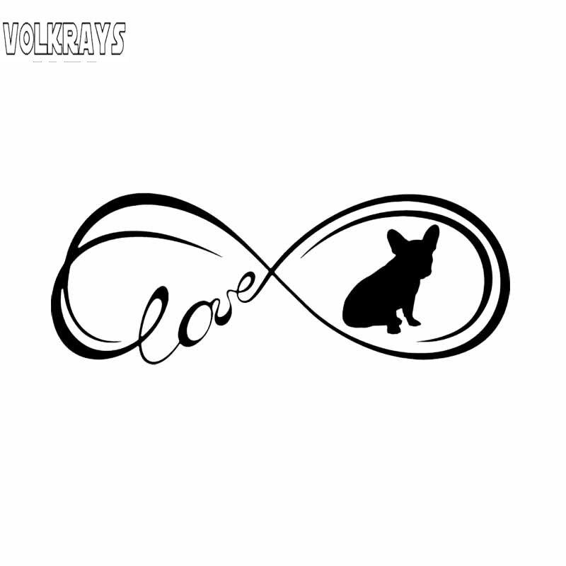 Volkrays personalidade etiqueta do carro bfrench bulldog amor cão acessórios protetor solar reflexivo vinil decalque falta/prata, 5cm * 16cm