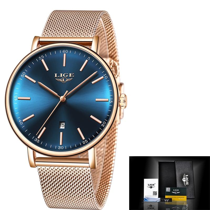 LIGE Womens Watches Top Brand  Fashion Ladies Luxury Waterproof WatchStainless Steel Ultra-Thin Casual Wristwatch Quartz Clock enlarge
