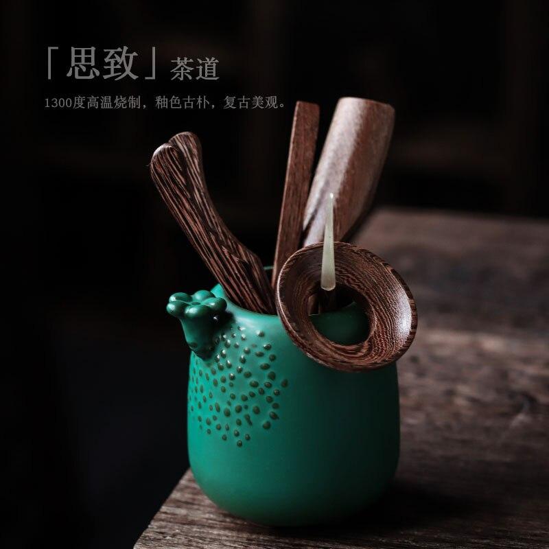 shozo sato tea ceremony Ceramic Tea Ceremony Six Gentlemen Ebony Wood Grain Kung Fu Tea Set Accessories Tea Clip Tea Spoon Japanese Tea Ceremony Set