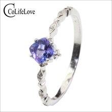 100% echt tanzanite engagement ring 4mm VS tanzanite silber ring 925 silber tanzanite ring für frau