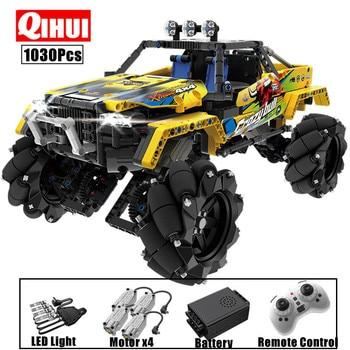 QIHUI 1030PCS City RC Car 4WD Off-road Building Blocks high-tech Remote Control Racing Buggy Truck SUV Bricks Toys For Children