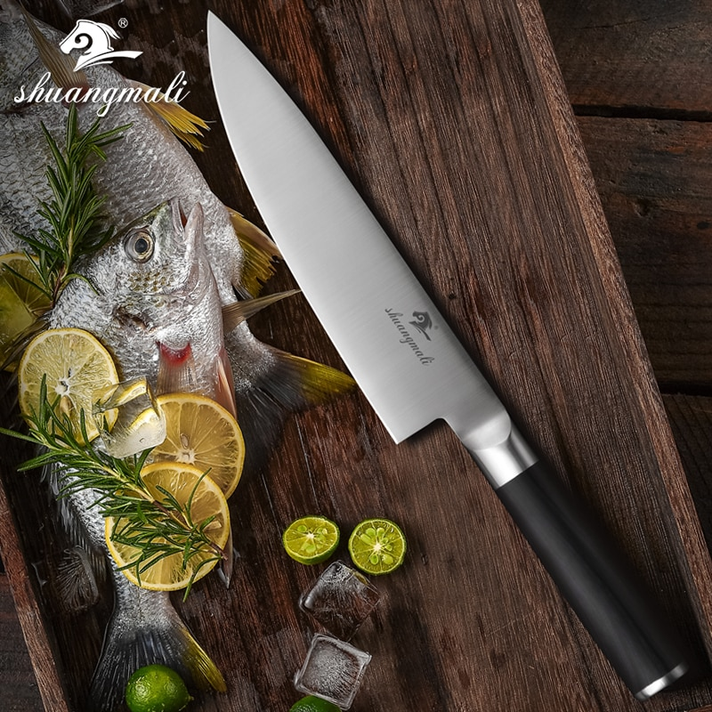 8 pulgadas cuchillo de Chef 5CR15MOV mango de madera de acero inoxidable rebanador cuchillo de regalo afilado cocinero Damasco cuchillos de cocina