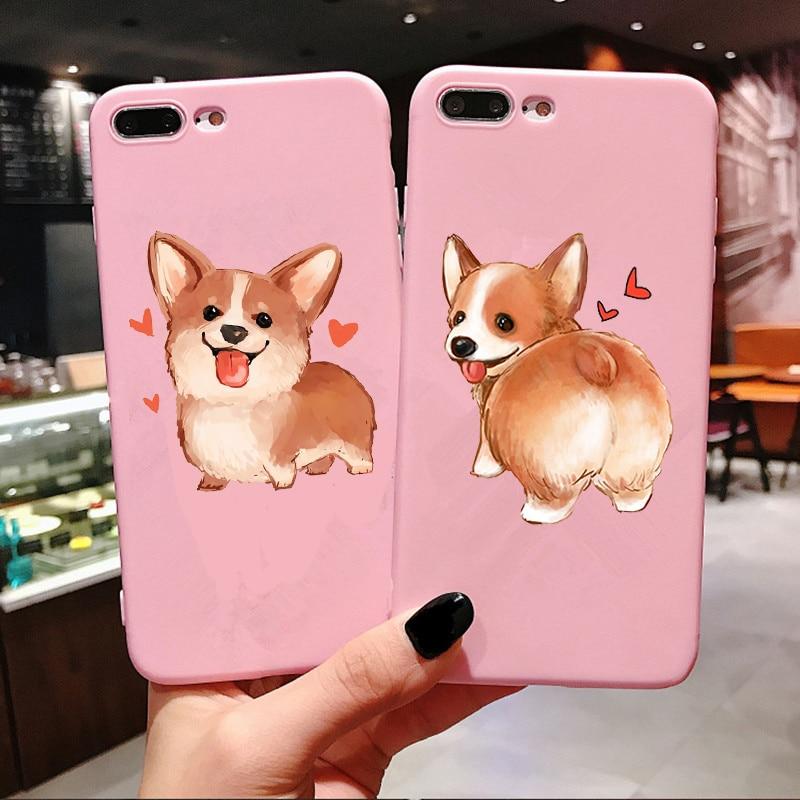 Fundas de teléfono Corgi para iPhones 6 s 7 8 Plus X XS carcasa para Max XR perro lindo divertido culo suave silicona accesorios de funda trasera