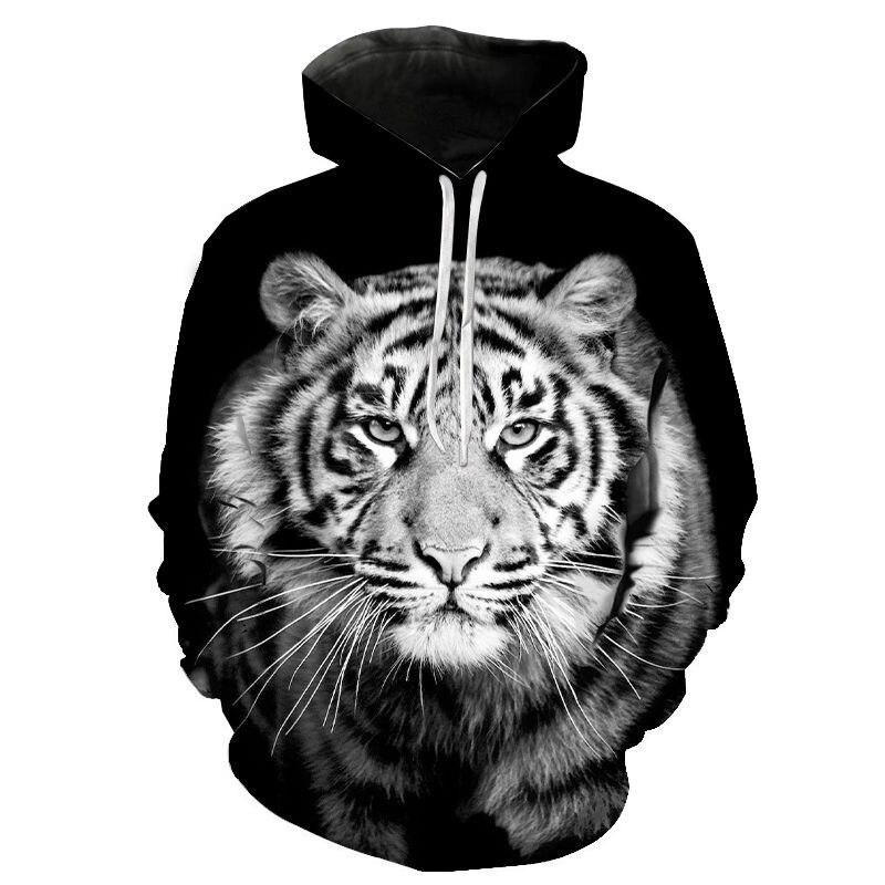 Новые толстовки с 3D принтом, пуловеры с капюшоном с животными, крутые толстовки с тигром для мужчин и женщин, Детская уличная одежда, свитшот...