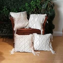 Borlas geometria bege macrame capa de almofada bohemia étnica decoração de casa 45x45cm fio de algodão capa de almofada mão-tecida