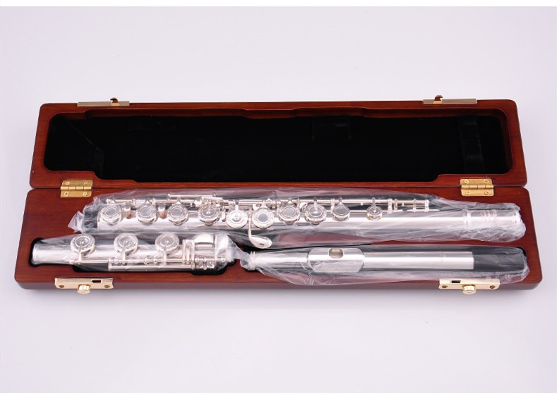 Pearl Quantz  665 795  Flute High Quality Silver Plated 17 Keys Flute Open Hole E-Mech Flute Musical Instrument enlarge