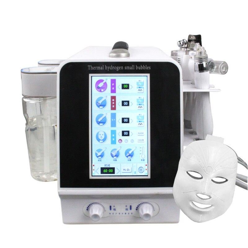 Mejora 7 en 1 hidrógeno térmico pequeñas burbujas herramientas de cuidado de la piel ultrasónico RF Hydra limpieza profunda de poros faciales máquina para masajes faciales