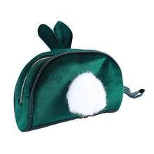 Sweet Plush Rabbit Ear Women Fur Travel Makeup Case Lolita Handbag Cosmetic Bag Girl Make Up Organizer Toiletry Pouch