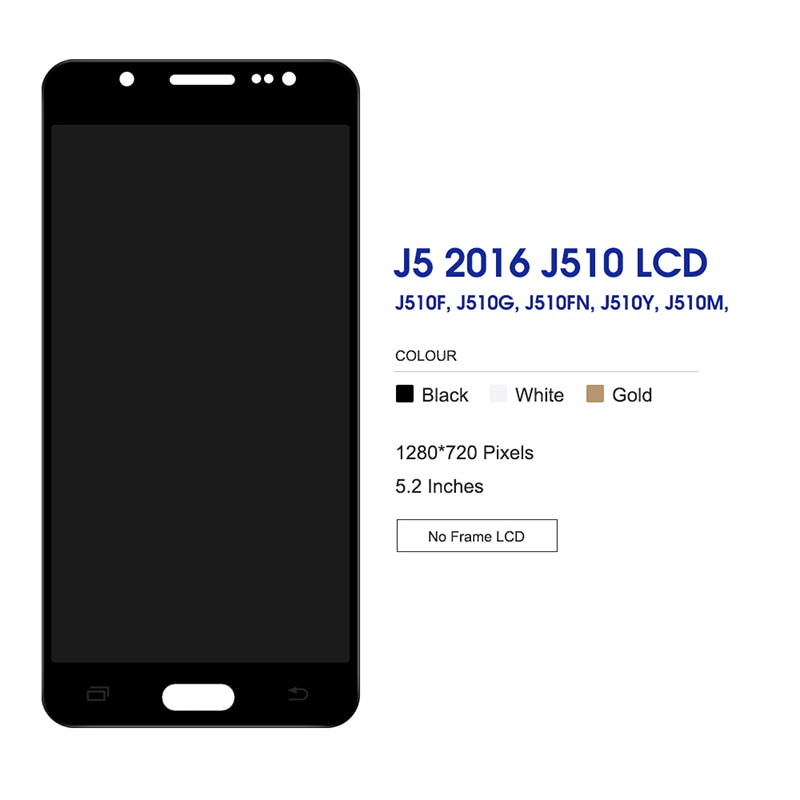 For Samsung Galaxy J5 2016 OLED LCD Display Touch Screen Digitizer Assembly On SM J510F J510H J 5 2016 510F SM-J510F 100% Test enlarge