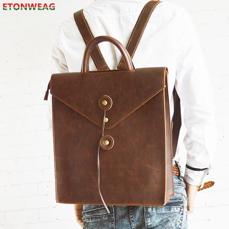 مصمم النساء الرجال على ظهره مجنون الحصان الجلود حقيبة كتف Vintage محمول على ظهره الكلاسيكية حقائب السفر المدرسية Crossbody