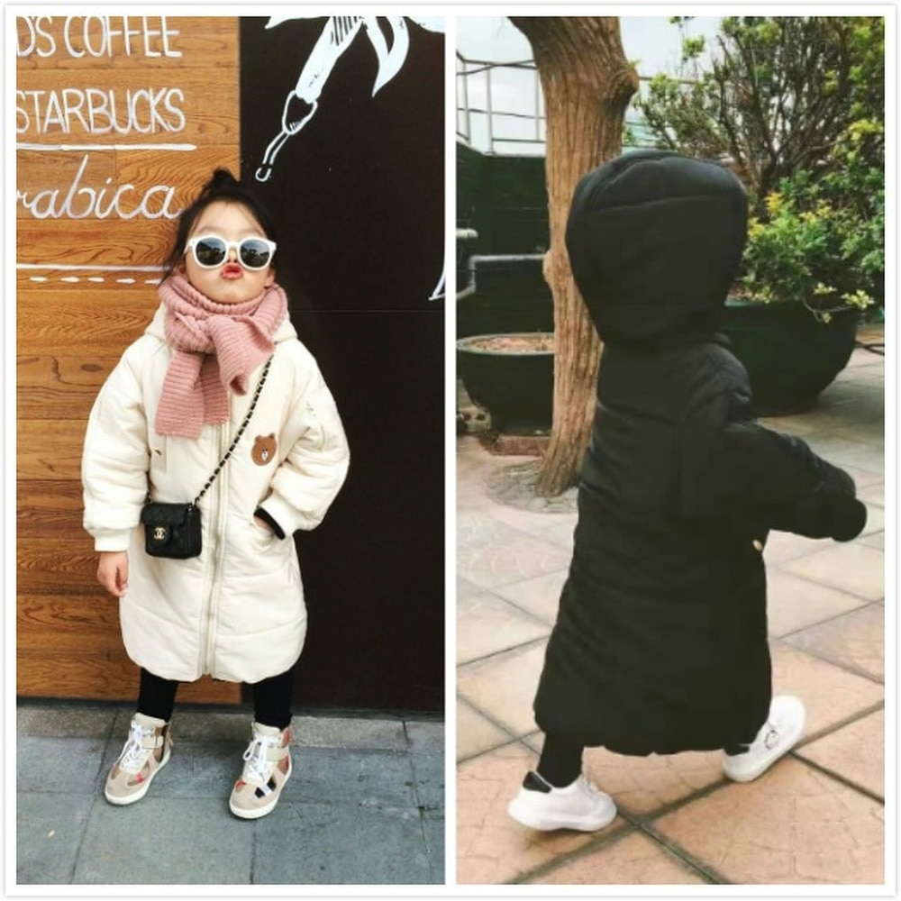 Children's Clothing Jacket Winter Cartoon Mid-length Hand-plug Cotton Padded Coat for Boys and Girls Baby Padded Coat enlarge