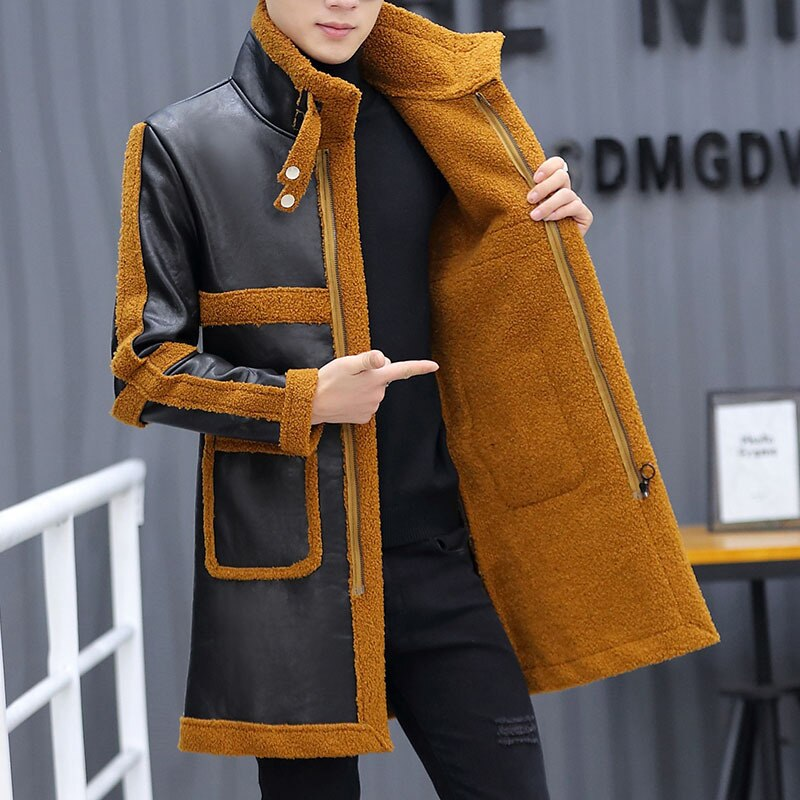 Fashion stitching leather, cashmere PU leather men, winter new leather, youth slim leather, long warm coat