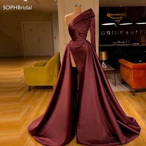 Middle East One Shoulder Evening Dresses 2021 Saudi Arabia Formal Dubai Party Gowns Robe De Soiree Long Prom Dress for Women