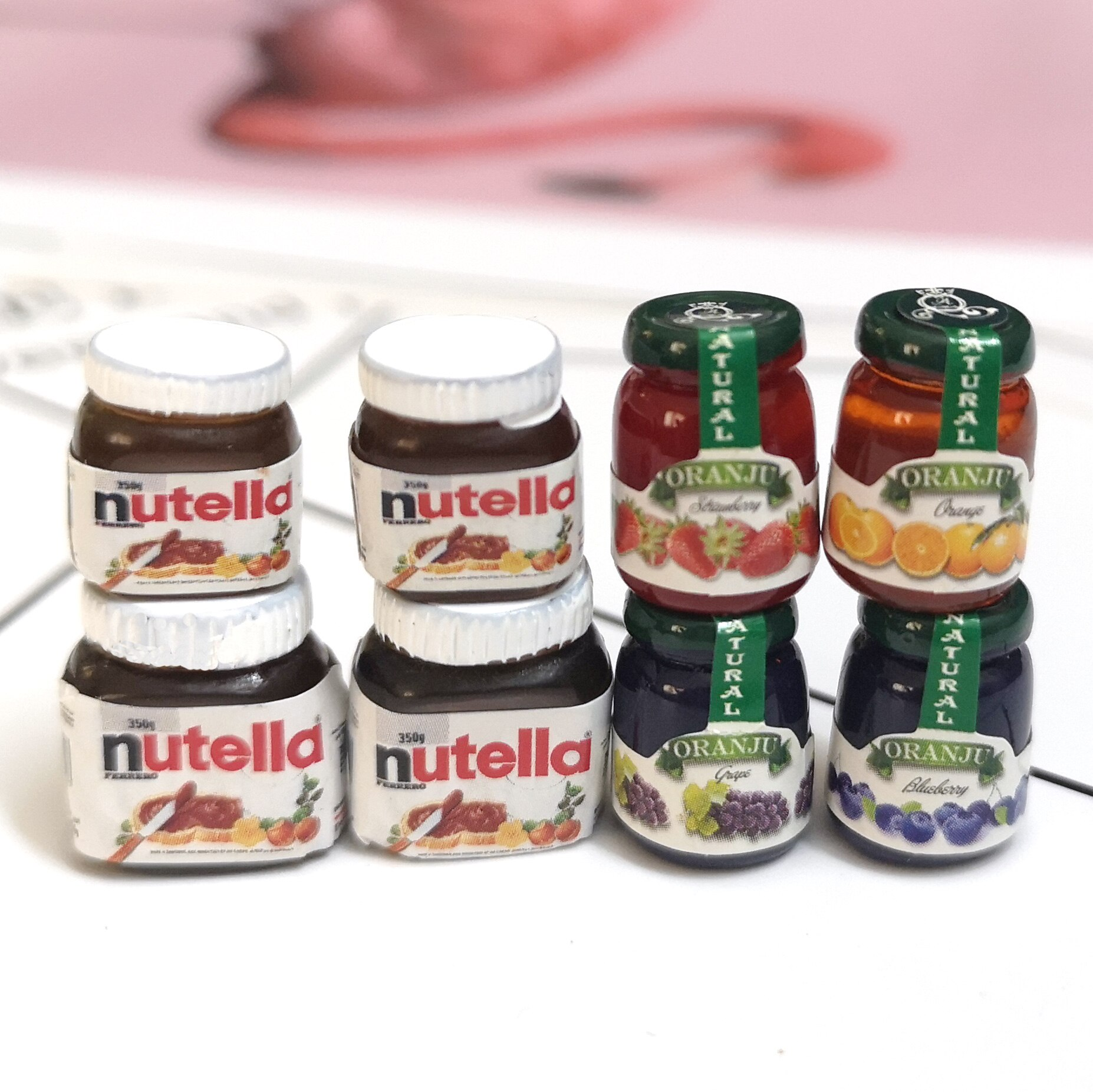 4 Uds 1/12 casa de muñecas Comida en miniatura Mini Chocolate salsa, mermelada juego blyth Pullip OB11 muñeca cocina accesorios de juguete