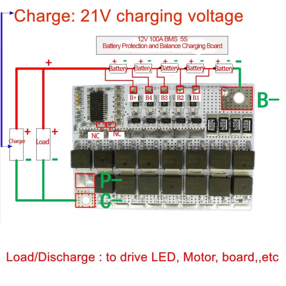 21V 100A BMS 5S 18650 Li-ion Battery Protection Circuit Board Charger Balancer 5S BMS PCM 18650 Lipo Li-POLYMER Balance Charging