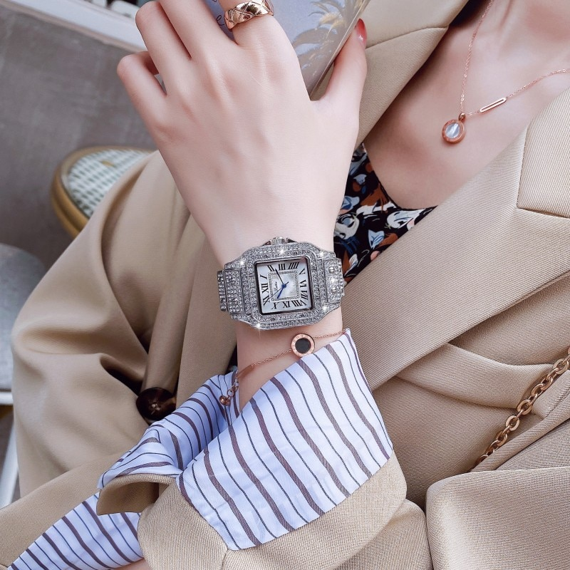 New Diamond Watch For Women Luxury Brand Ladies Silver Square Watch Big Dial Analog Quartz Movt Unique Female Watch With Box