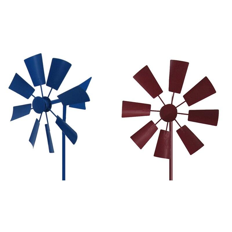 AU -2 قطعة الرياح الدوار طاحونة الزخرفية طاحونة ديكور ساحة المكونات في حديقة Winnower الرياح سبينر حلية-الأحمر والأزرق